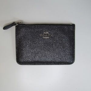 Coach Black Metallic Color Zip Wallet Key Holder